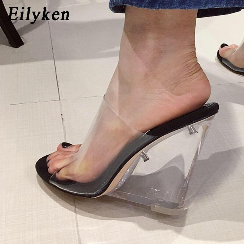 Eilyken PVC Transparent Fashion Jelly Women Slippers 2021 New Summer Sexy Clear Peep Toe Perspex Crystal Wedge High Heels Shoes