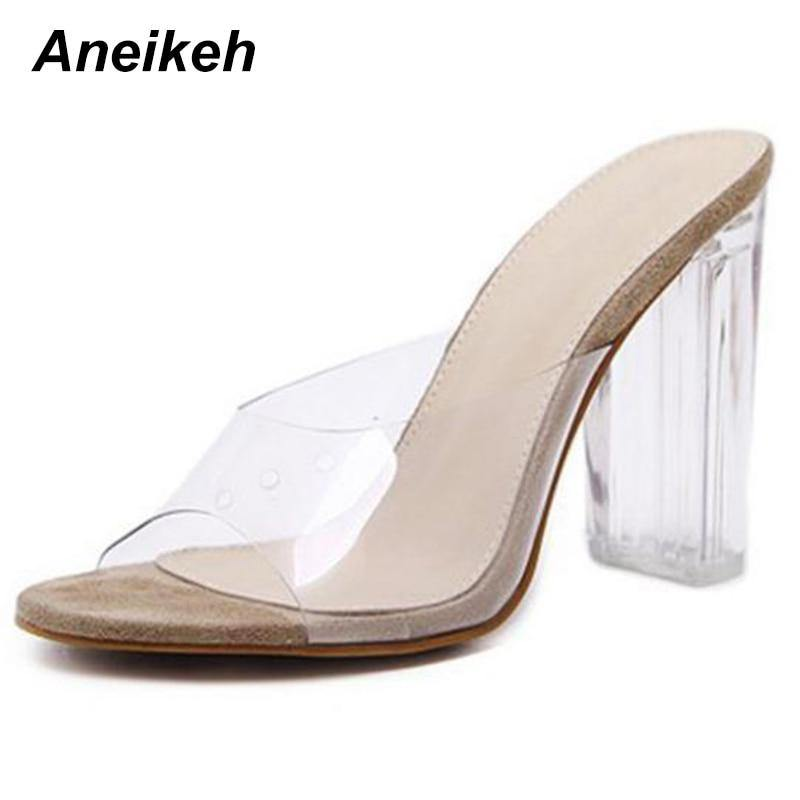 Aneikeh 2021 New Fashion Women Sandals PVC Jelly Crystal Transparent Sexy Clear High Heels Summer Party Pumps Shoes Size 41  42