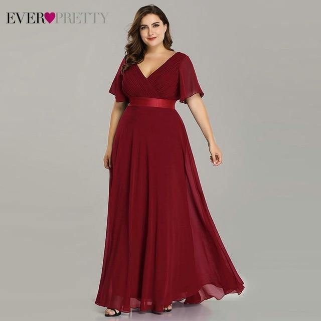 Plus Size Evening Dresses Long Ever Pretty Elegant A Line V Neck Ruffles Chiffon Formal Wedding Party Dress Robe De Soiree 2021 - GEMS Express L.L.C.