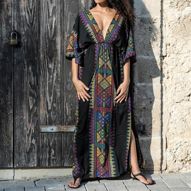 Plus size Cotton Beach Maxi Dress Cover up Bathing suit Cover ups Salida de Playa 2021 Kaftan Beach Swimwear Cover up Playeros