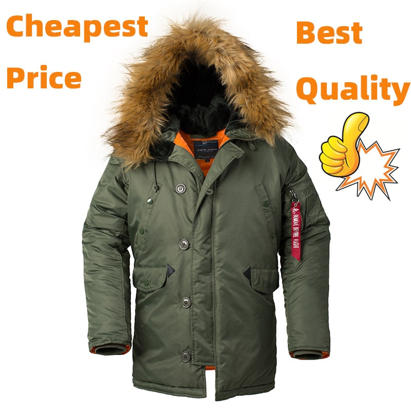 1.5KG! Winter Men's Long Warm Jacket 2020 with Fur Collar Hood Thick Clothing Parka Man Style Puffer Military Tactical Coats N3B