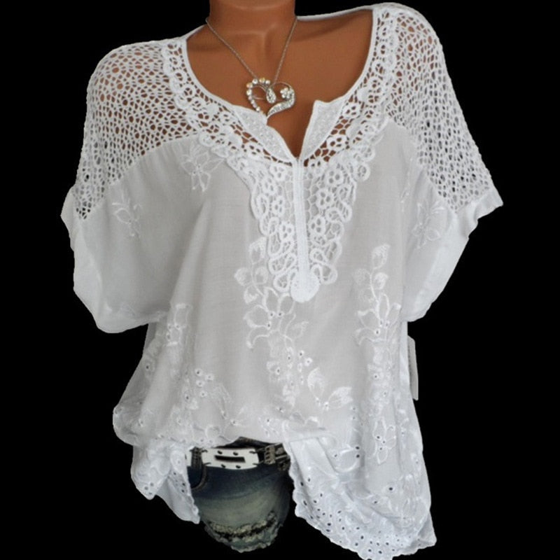 2021 Summer Short Sleeve Womens Blouses And Tops Loose White Lace Patchwork Shirt Plus Size 4xl 5xl Women Tops Casual Clothes
