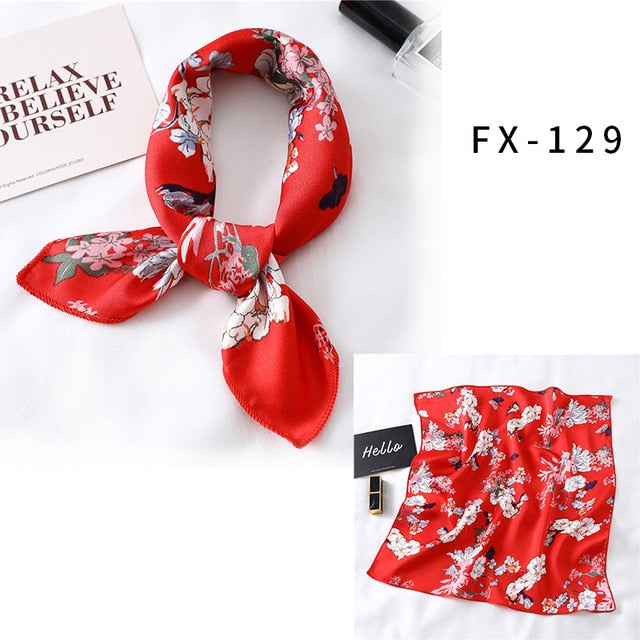 2021 Square Silk Scarf Women Fashion Print Small Neck Scarfs Office Lady Hair Band Foulard Hand Kerchief Female Bandana Shawl