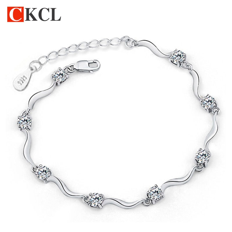 Fashion chain & link bracelets for women high quality crystal bracelets 925 sterling silver bracelets bangles fine jewelry - GEMS Express L.L.C.