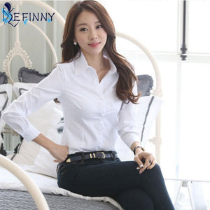 ZH Summer Women Office Lady Formal Party Long Sleeve Slim Collar Blouse - GEMS Express L.L.C.