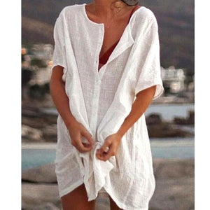 WEPBEL Womens Fashion Summer Short Sleeve Long Blouses Casual Loose Solid Color Plus Size Beach Wear Cover-up Short Linen Blouse - GEMS Express L.L.C.