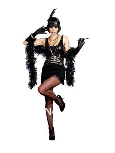 Ladies Black Flapper Costume 20's 30's Charleston Fancy Dress halloween costume women party costume size s-3xl 515