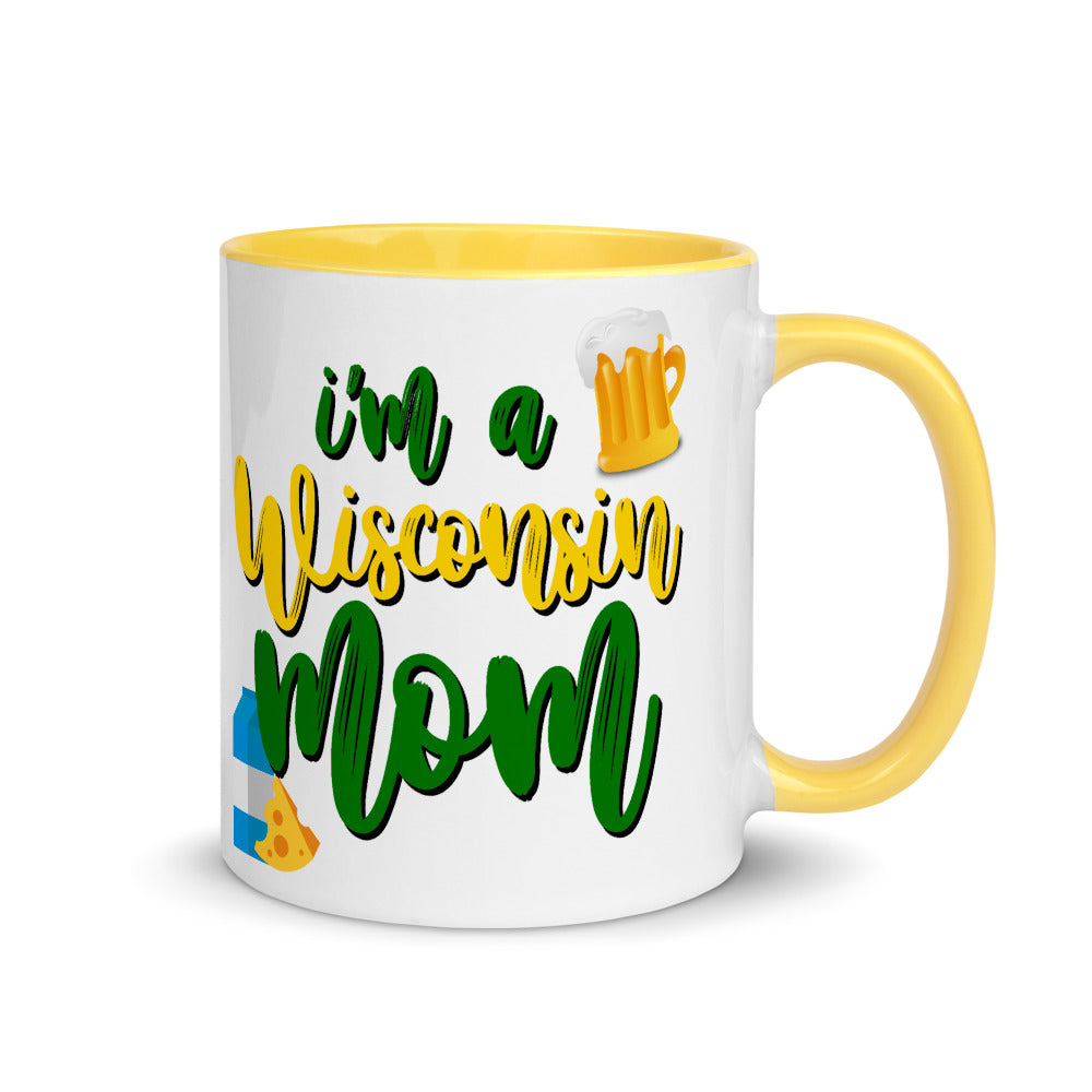 WI Packer Mom Mug with Yellow Inside, Green and Gold Mug, Packers Backer Mug, Away Game Day Mug, Wisconsin Mom Mug, momlife mugs