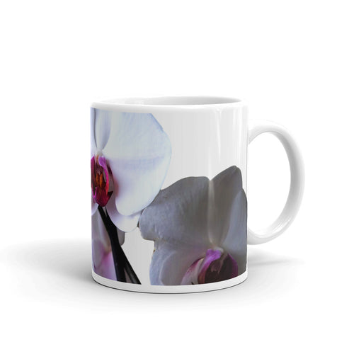 Orchid Mug for Orchid Lover, Mug with White Flowers, Beautiful Cup with Real Life Blooms, Mom Life Mugs, Gifts for Flower Lover or Gardener