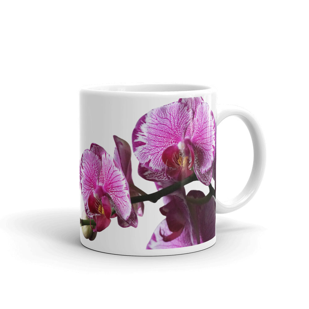 Mug with Orchid Blooms Purple, Orchid Obsessed, Orchid Gift, Premium All-Over Custom Mug for Orchids Fanatic, Mom Life Mugs
