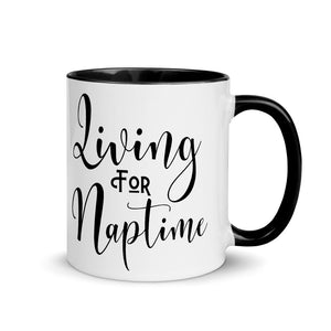 Living for Naps Mug with Black Inside, Naptime is my Happy Hour Cup, Momlifemugs, Gift for Toddler Mom, Coffee Lovers Mug
