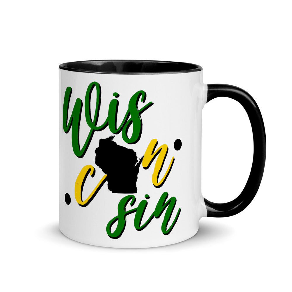 Wis·con·sin Mug with Black or Yellow Inside, Green Bay Packers Backer, Mug with Wisconsin State on it, State of Wisconsin, Green Bay, WI Mom