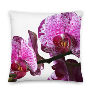 "Throw Pillow with Orchids Purple 22"" x 22"", Square Premium All-Over Custom Pillow, Pillow for Orchids Fanatic, Home Decor, Mom Life Mugs"