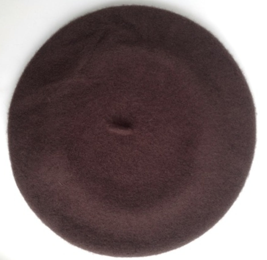 100% Wool Beret, DARK BROWN