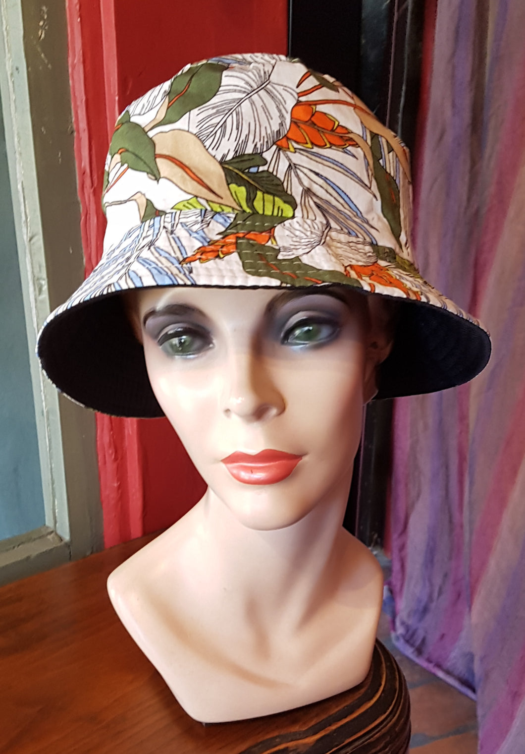 Cotton Bucket Hat, BOTANICAL WHITE