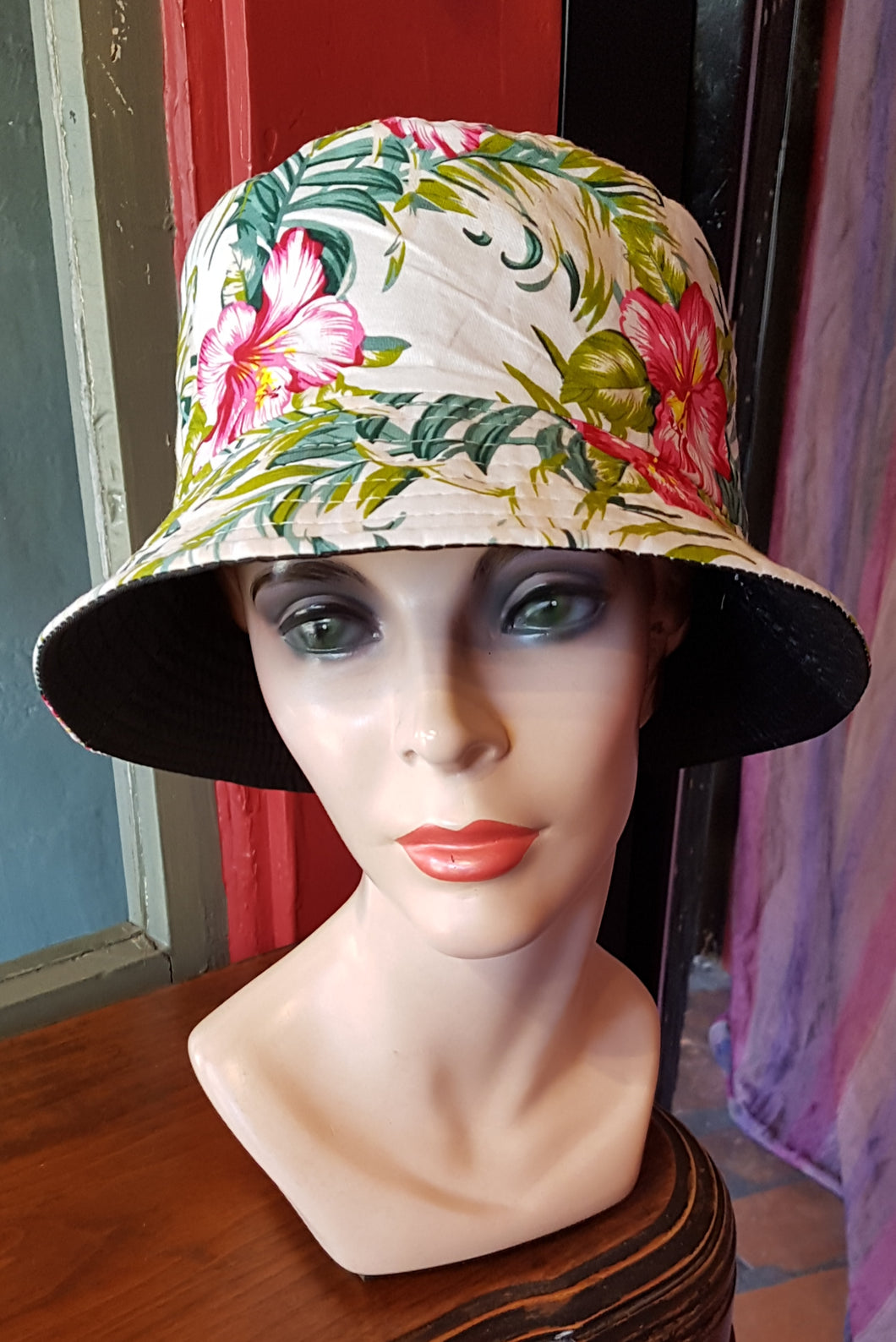 Cotton Bucket Hat, WHITE HIBISCUS