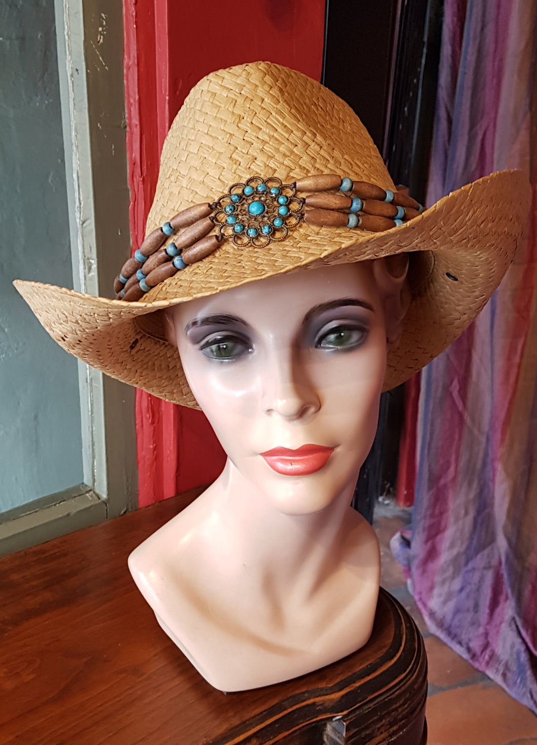 Straw Cowboy/Cowgirl Hat with Turquoise and wooden beads trim