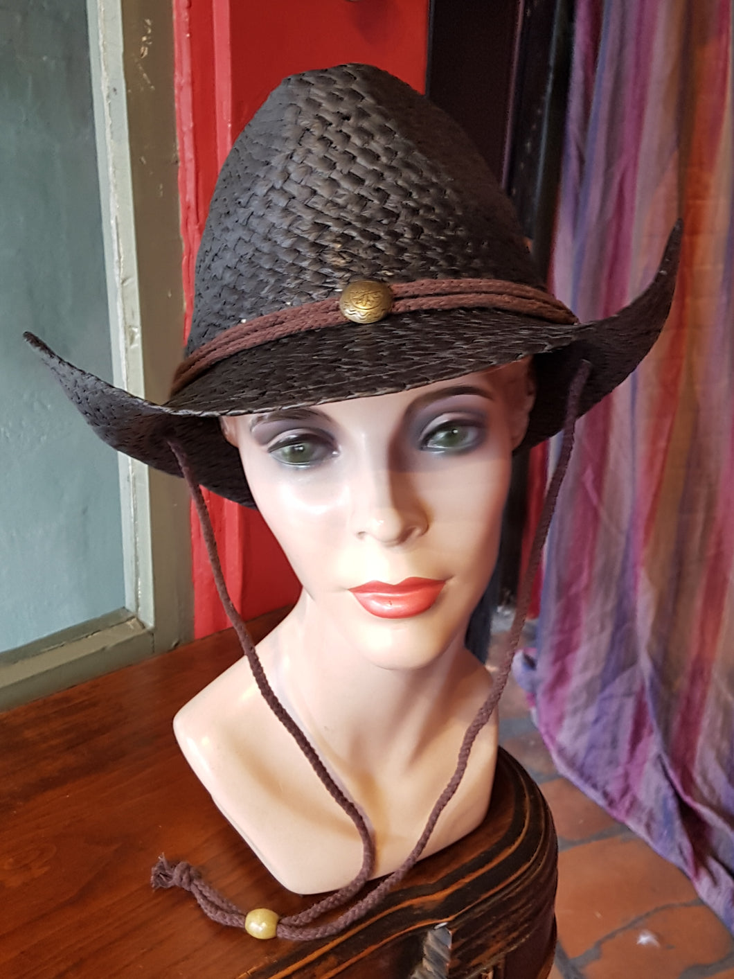 Straw Cowboy/Cowgirl Hat, Black with brown cord band and chin strap, metal detail