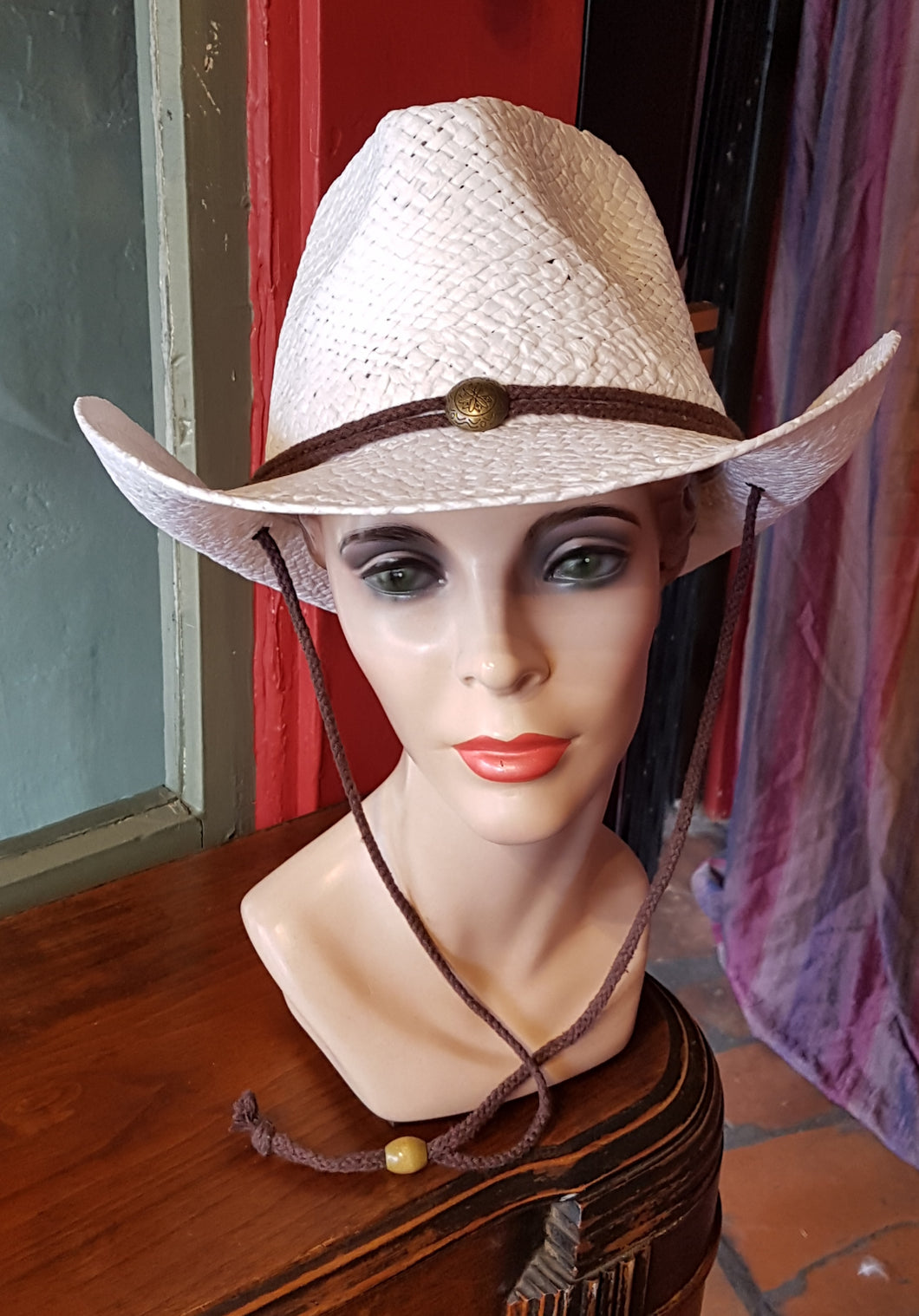 Straw Cowboy/Cowgirl Hat, White with brown cord band and chin strap, metal detail