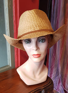 Straw Cowboy/Cowgirl Hat, Natural with brown braided leather trim
