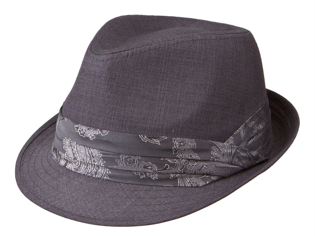 Lightweight Fabric Fedora, GREY/PAISLEY BAND