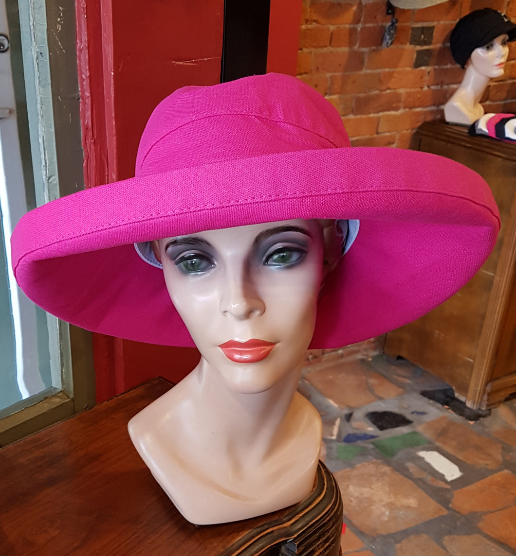 100% Cotton Canvas Sunhat, FUCHSIA
