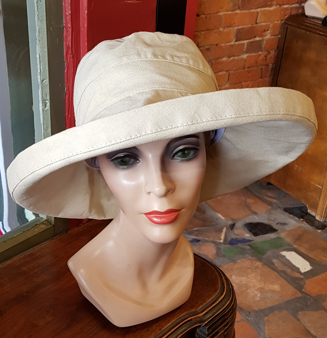 100% Cotton Canvas Sunhat, LIGHT NATURAL