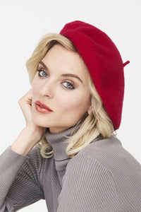 100% Wool Beret, RED