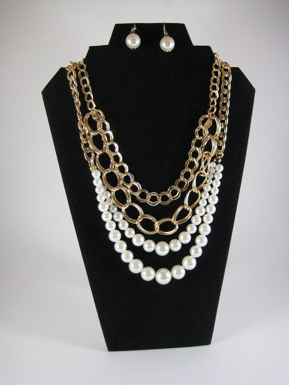 Audrey Pearl Chained Layered Necklace - So Enticing