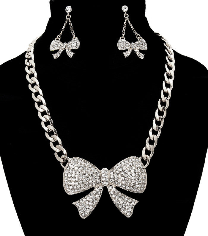 Naomi Bow Necklace& Earring Set - So Enticing