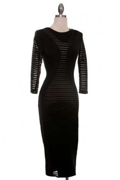 Sexy Black Long Sleeve Dress - So Enticing