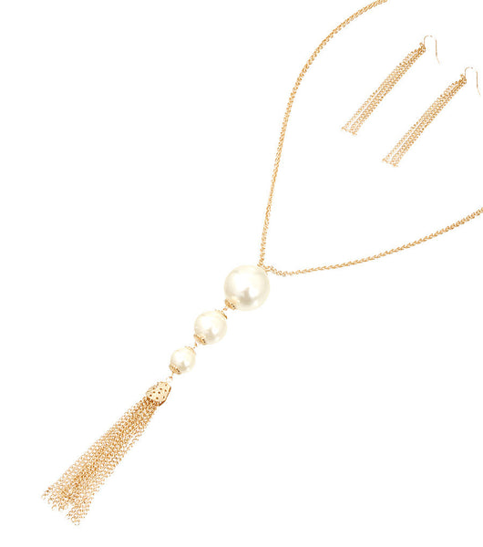Marilyn Long Tassle Pearl Necklace Set - So Enticing
