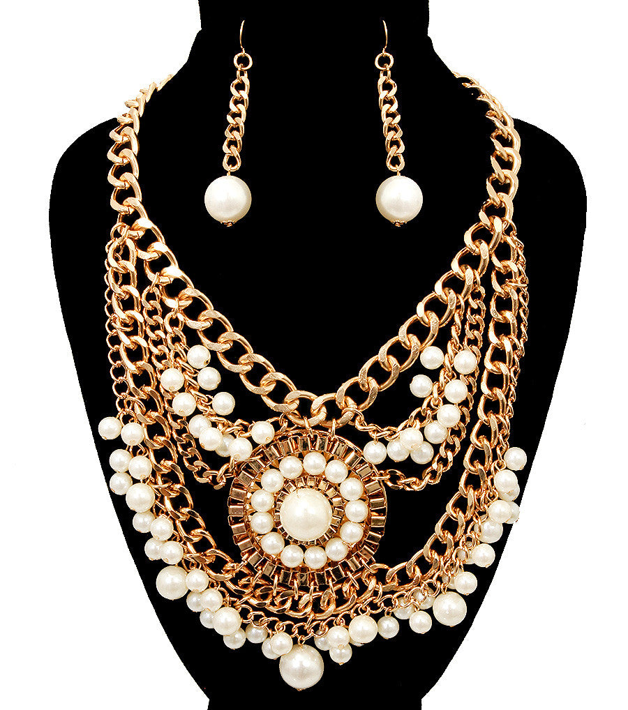 Gold Pearl Necklace & Earring Set - So Enticing