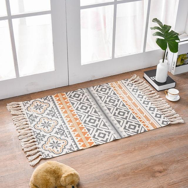 Tapis Bohème Gris Orange