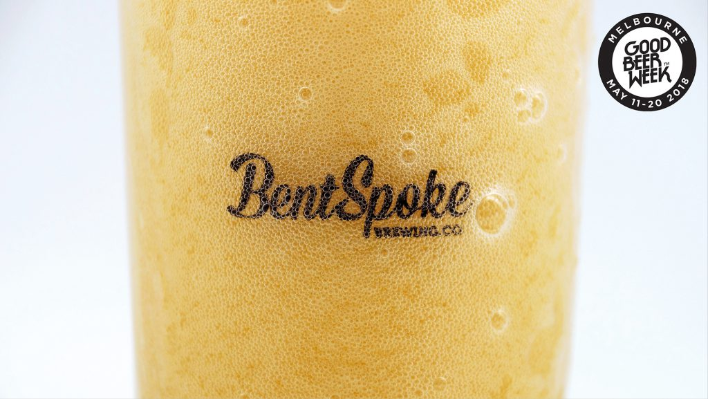 BentSpoke beer overflowing with Good Beer Week Logo in background