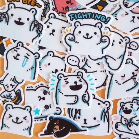 Stickers Ours <br> Blanc 40 pcs mynounours