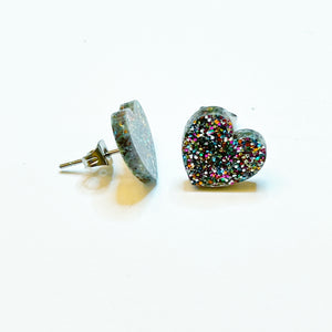 Laser Cut Heart Rainbow Glitter Stud Earrings