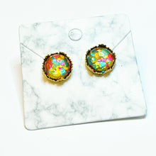 Load image into Gallery viewer, Pink/Yellow/Blue Glitter Gold Crown Stud Earrings 12mm
