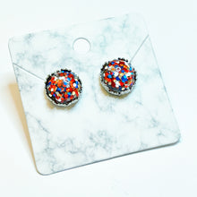 Load image into Gallery viewer, Red/Silver/Blue Glitter Silver Crown Stud Earrings 12mm