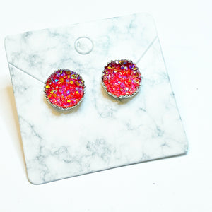 Red Druzy and Silver Crown Stud Earrings 12mm