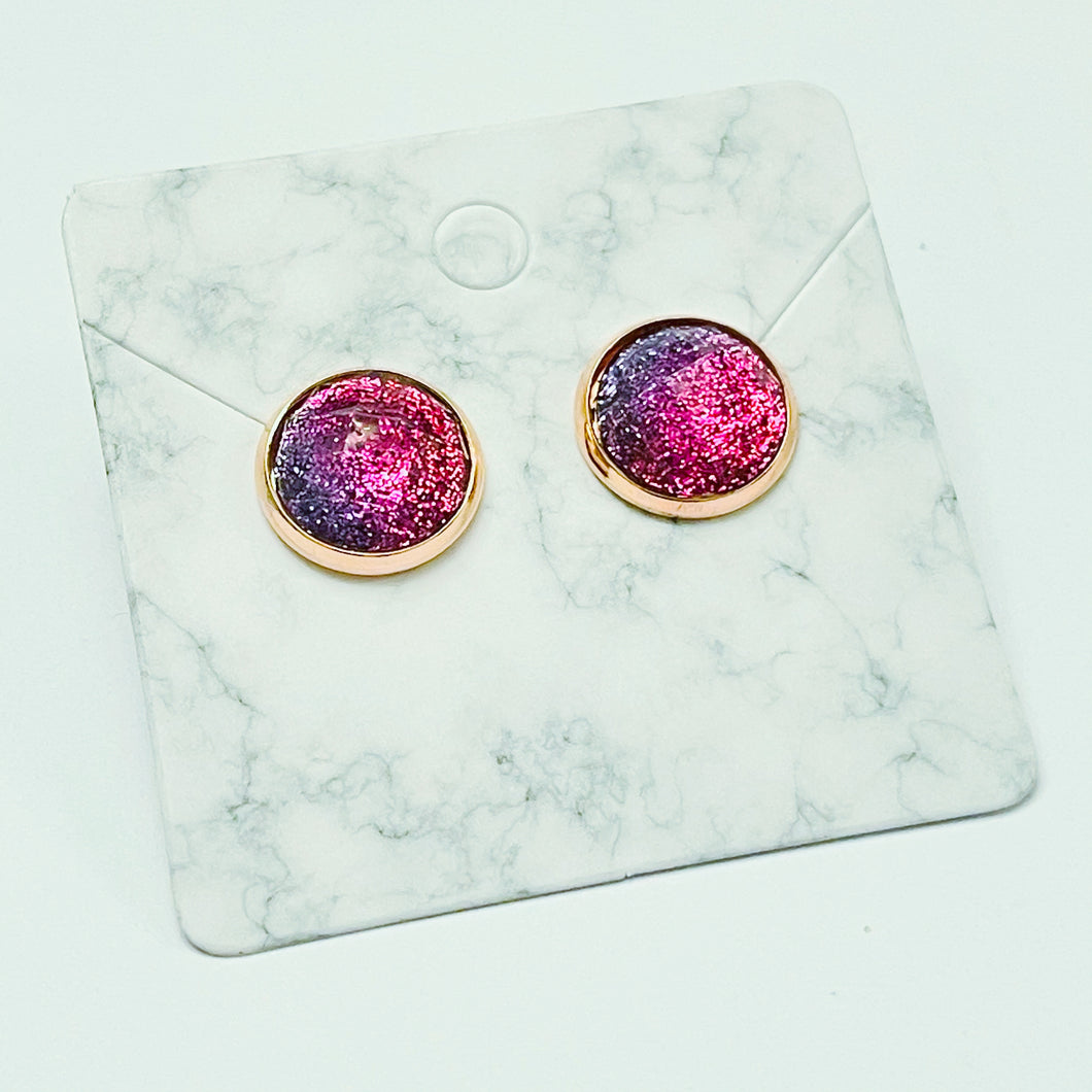 Purple & Pink Glitter / Rose Gold Stud Earrings 12mm