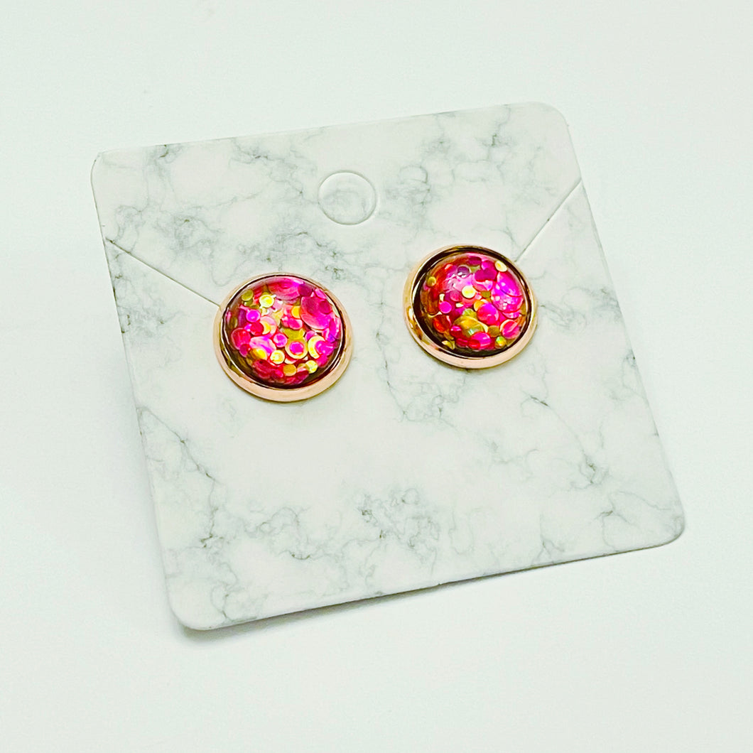 Mixed Pink Glitter / Rose Gold Stud Earrings 12mm