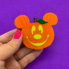 Load image into Gallery viewer, Laser Cut Mouse Pumpkin Pin/Brooch