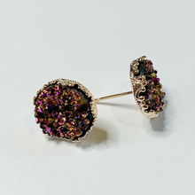 Load image into Gallery viewer, Gold AB Druzy Rose Gold Crown Stud Earrings 12mm