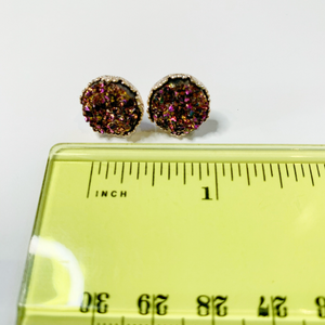 Gold AB Druzy Rose Gold Crown Stud Earrings 12mm
