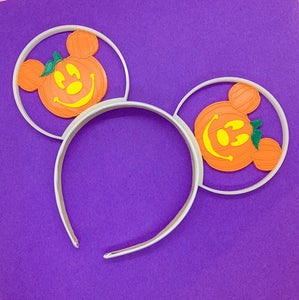 Glow In The Dark Halloween Orange Mouse Pumpkin Jack O Lantern 3D Printed Mouse Ears