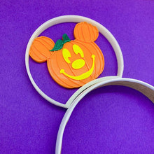 Load image into Gallery viewer, Glow In The Dark Halloween Orange Mouse Pumpkin Jack O Lantern 3D Printed Mouse Ears