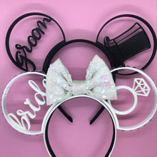 Load image into Gallery viewer, Bride and Groom Ears Wedding Combo 3D Printed Mouse Ears
