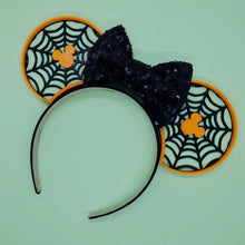 Load image into Gallery viewer, Mouse Head + Spiderwebs 3D Printed  Halloween Mouse Ears
