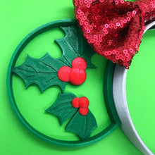 Load image into Gallery viewer, Christmas Mouse Head Holly Leaves 3D Printed Mouse Ears